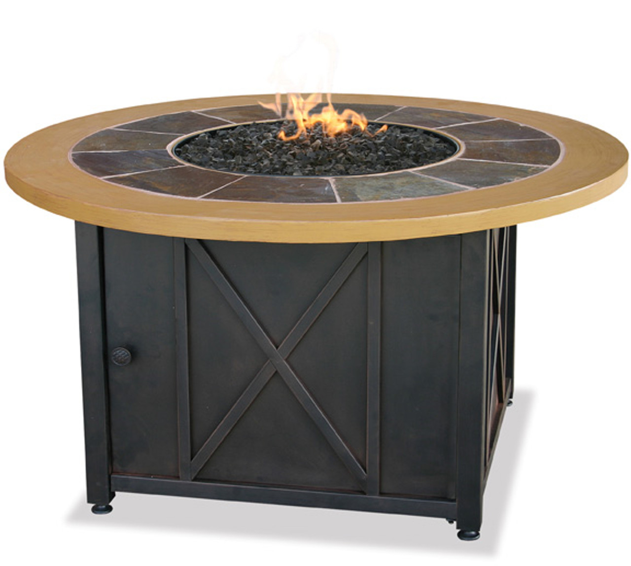 Blue Rhino Uniflame Lp Propane Gas Fire Pit Table With Round Slate Faux Wood Mante Gad1362sp The Fire Pit Store
