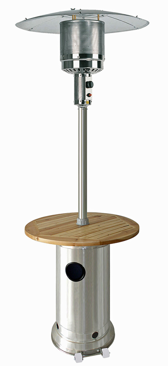 Tfps Patio Heaters 87 Stainless Steel Patio Heater With Wood Table