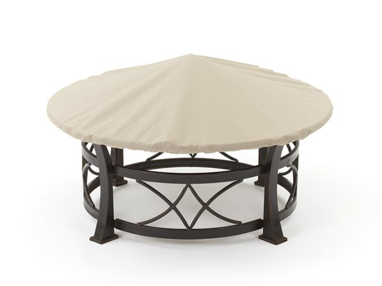 Stupendous Round Fire Pit Cover Durable Khaki Or Charcoal 54 60 Inches F52 Ibusinesslaw Wood Chair Design Ideas Ibusinesslaworg