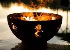 """Fire Pit Art 36"""" Kokopelli - Koko, Sun And Gecko"""