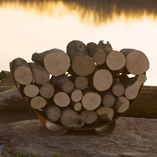 Fire Pit Art Crescent Log Rack