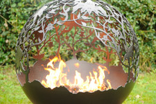 Fireball Fire Pits - Orchard Flowers - 120BTU NG Burner - 37.5 inch Fire Globe 1