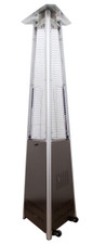 "TFPS Patio Heaters 94"" Tall Commercial Triangle Glass Tube Heater - Hammered Bronze Patio Heater - TFPS-HLDS01-CGTHG"