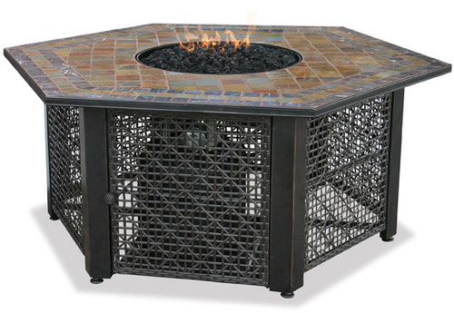 Blue Rhino Uniflame LP Propane Gas Fire Pit Table With Hexagon Slate Tile Mantel