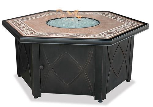 Blue Rhino Uniflame Propane Fire Pit Table - Decorative Tile Mantel