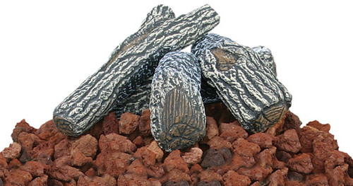 Blue Rhino UnFlame Lava Rock and Log Kit for Outdoor Propane Gas Fire Pits - LOG-KIT
