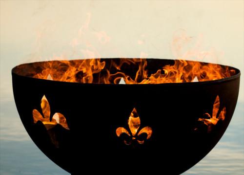 """Fire Pit Art 36"""" Fleur de Lis Lily Flower"""