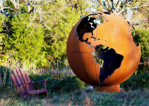 Fire Pit Art - Mother Earth - 8 Foot Globe of The Earth - Fire Pit Art - Mother Earth - 8 Foot Globe Of The Earth - ME - The