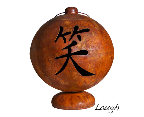 Ohio Flame 30 inch Live, Laugh, Love Fire Globe Japanese Fire Pit - Patina Finish - OF30FGLLL