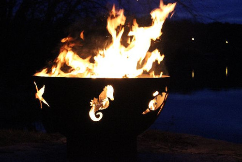"""Fire Pit Art Sea Creatures 36"""" Fire Pit - Sea Creatures - Starfish, Seahorse and Sea Turtle"""