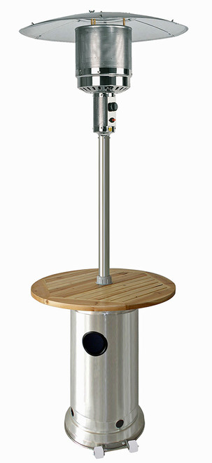"""TFPS Patio Heaters 87""""  Stainless Steel Patio Heater with Wood Table - TFPS-HLDS01-BWT"""