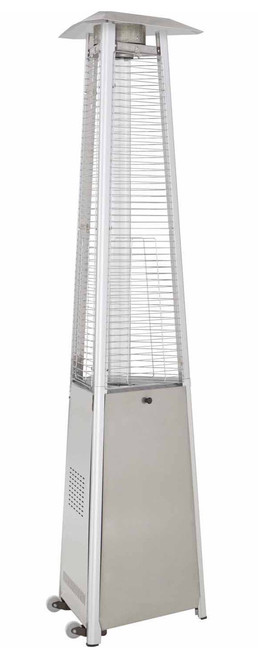 "TFPS Patio Heaters 94"" Tall Commercial Triangle Glass Tube Heater - Stainless Steel Patio Heater - TFPS-HLDS01-CGTSS"