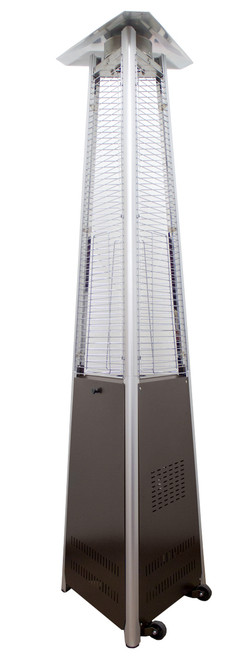 """TFPS Patio Heaters 94"""" Tall Outdoor Commercial Natural Gas Triangle Glass Tube Heater-Hammered Bronze Patio Heater - TFPS-NG-GT-BRZ"""