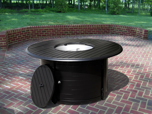 TFPS Round Slatted Aluminum Fire Pit Table - TFPS-F-1350-FPT 2