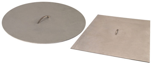 26 inch x 1/8 inch Brushed Aluminum Fire Pit Cover with Handle - For 24 inch Opening