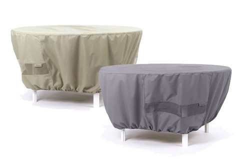 Round Fire Pit Cover - Durable Khaki or Charcoal - 72 inches x 25 inches