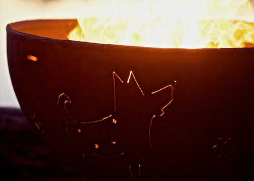 """Fire Pit Art 36"""" Funky Dog - Natural Gas or LP Gas Fire Pit"""