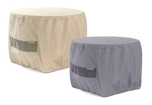 Round Fire Pit Cover - Durable Khaki or Charcoal - 60 inches x 30 inches - 420KC 1