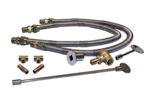 """Warming Trends Dual 3/4"""" Flex Lines and 3/4"""" Key Valve and Fittings For Gas Burners -DFLKV34FIT300 - FK2"""