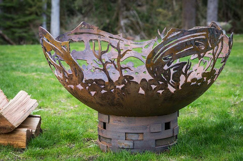 Salmon Fire Pit 37 Inch Wood Burning Fire Bowl The Fire Pit Store