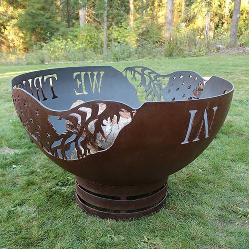 In God We Trust Fire Pit - 37 inch Wood Burning Fire Bowl 1