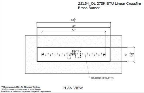 "Warming Trends Crossfire 130K BTU Linear Brass 30"" Burner - ZZL30LPNG_OL 4"