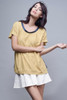 oversized mustard raglan top deconstructed with printed back S M