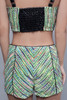 bustier top textured green faux leather S M L