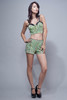 textured green piped shorts S M L