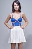 white scuba mini skirt textured flare flouncy floral S M L