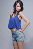 racerback crop tank top blue black S M