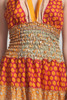 OOAK boho tiered maxi dress bohemian silk sari halter deep plunging open back floor length flowy orange floral ONE SIZE S M L