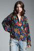 vintage silk blouse top paisley crest print navy green red gold long sleeves MEDIUM M
