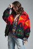 vintage 80s wool blanket fleece bomber jacket coat red yellow Aztec puffer ONE SIZE S M L