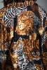vintage safari animal print silk blouse shirt lion tiger leopard zebra black gold long sleeves MEDIUM M