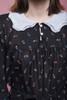 peter pan collar belted yoke dress long sleeves black white vintage 80s MEDIUM LARGE M L