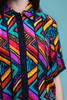 silk blouse top abstract stripe print short sleeves vintage 90s SMALL MEDIUM S M