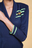 jumpsuit pantsuit petites nautical navy blue green stripes gold emblem vintage 80s SMALL S