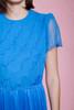 maxi dress blue hostess ruffles sheer short sleeves slinky floor length vintage 70s MEDIUM M