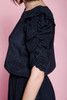 secretary dress black crinkled damask gathered sleeves ruffles vintage 80s LARGE L