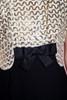 sequined evening dress formal gown black gold sleeveless vintage 60s MEDIUM M