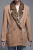 faux fur collar jacket coat blazer camel brown wool leopard double breast vintage 80s LARGE L