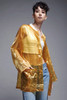 sheer see through shell bomber jacket Italian yellow shiny vintage 80s ONE SIZE S M L XL