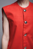 tunic top sleeveless pocket vest red round neck gold buttons vintage 70s  MEDIUM M