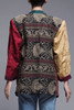 tapestry blazer jacket brocade asymmetrical colorblock open front gold green red burgundy vintage 80s LARGE EXTRA LARGE L XL