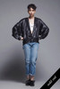 black liquid bomber jacket top oversize lightweight coat vintage 80s ONE SIZE S M L