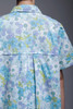 swing coat dress duster blue floral cotton oversize pockets vintage 80s oversize M L XL