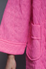 quilted puff coat dress neon pink lace trims pointy collar vintage 80s plus size XL 1X