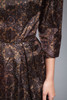 wiggle dress brown floral medallion taffeta 3/4 sleeves vintage 50s SMALL S