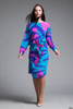 Flora Kung belted silk dress flowy colorful long sleeves vintage 80s MEDIUM M